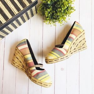 Dexter Striped Wedge Heel with Strap, Size 6.5